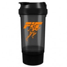Шейкер Fit MY Drink+контейнер, 500 мл - черно-оранжевый