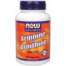 NOW Arginine & Ornithine, 100 капсул