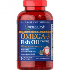 Puritans Pride Omega 3 Triple Strength (950 mg active), 240 капсул