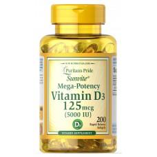 Puritans Pride Vitamin D3 5000, 200 капсул